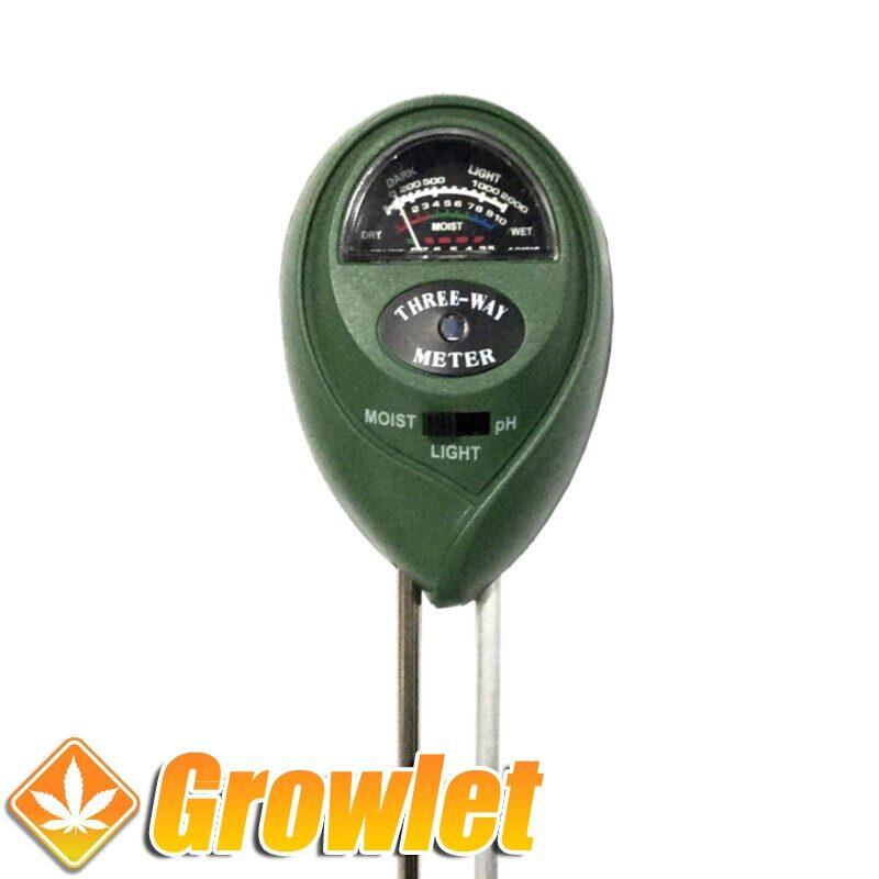 Medidor de pH y humedad para la tierra
