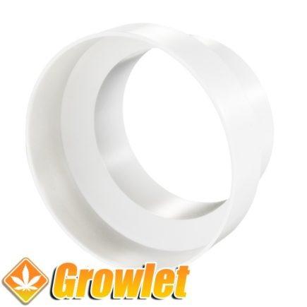 pieza de plastico reductora para tubos de extracción redondos