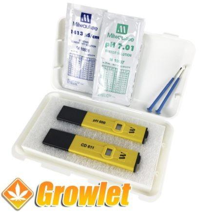 maletín con medidor de pH y otro de Ec