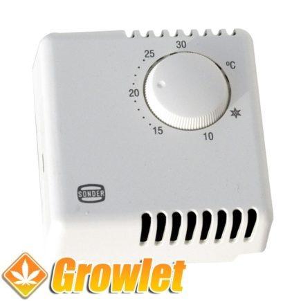 el termostato en caja con rueda selectora de temperatura