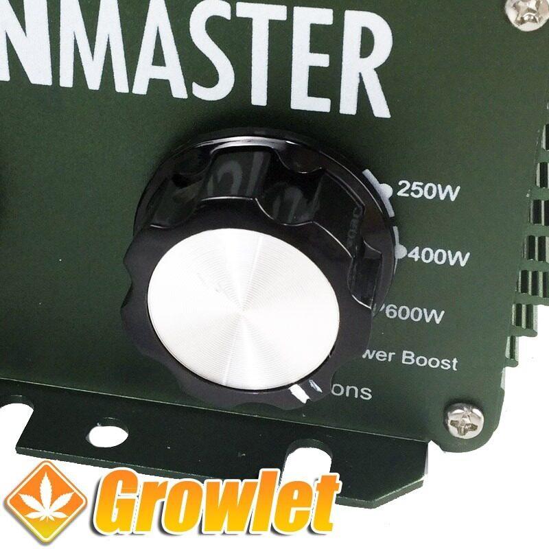 Vista detalle del frontal del balastro electrónico Sunmaster regulable