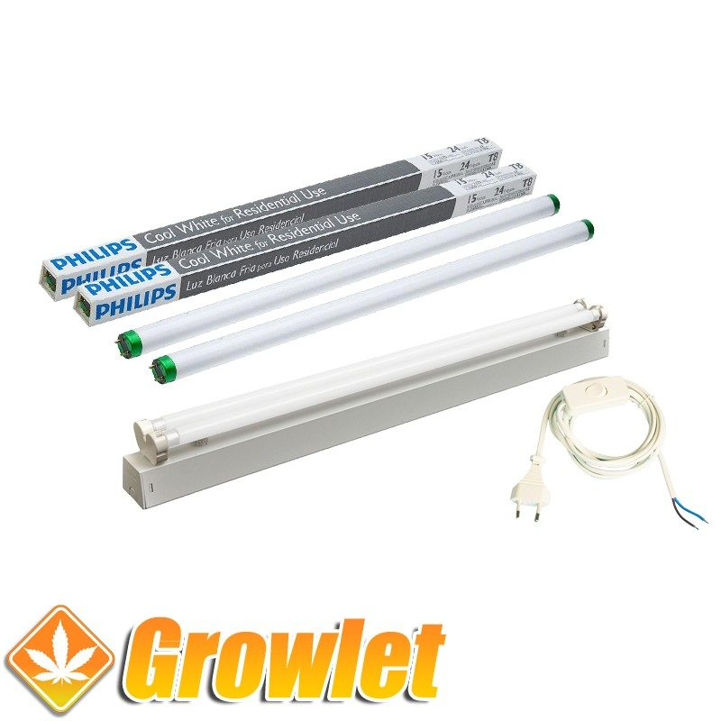 Kit fluorescente 2 x 18 W para crecimiento