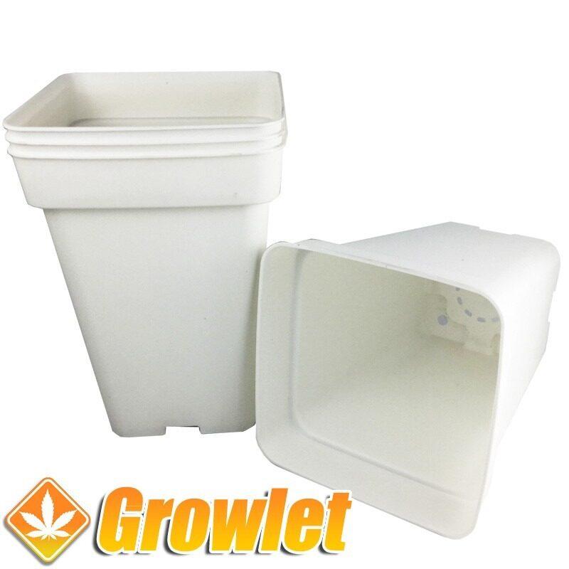 Conjunto de macetas de cultivo cuadradas blancas