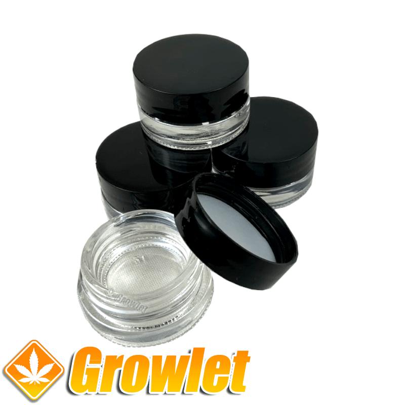 Bote de cristal con tapa negra 5 ml.